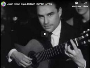 The guitarist Julian Bream plays the prelude BWV 999 from Johann Sebastian Bach