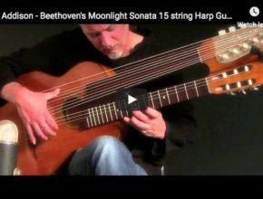 The guitarist Brin Addison is playing Beethoven's Moonlight Sonata 1st movement on a 15 strings Harp Guitar