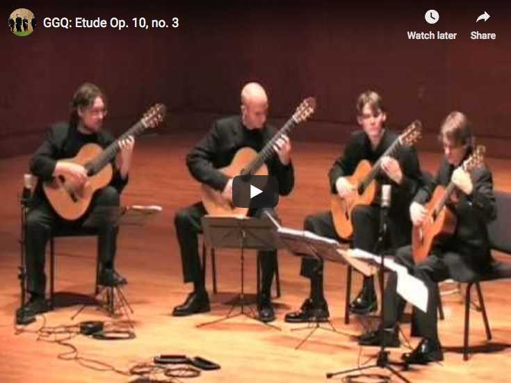 The Georgia Guitar Quartet plays Chopin's Etude Op. 10 No. 3 in E-Major for piano