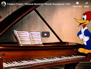 Andy Panda is playing some famous Chopin's masterpieces but Woody Woodpecker tries to steal the show