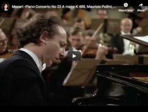 The Italian pianist Maurizio Pollini is playing Mozart's concerto No. 23 in A Major. The Wiener Philharmoniker is conducted by Karl Böhm.