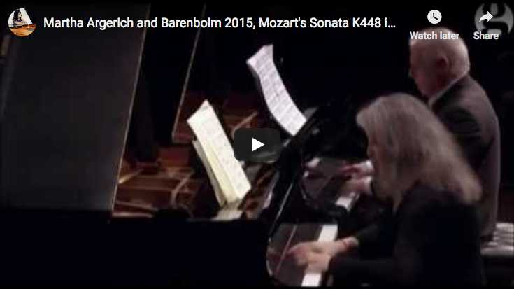 Martha Argerich and Daniel Barenboim play Mozart's Piano Sonata in D Major for 2 pianos