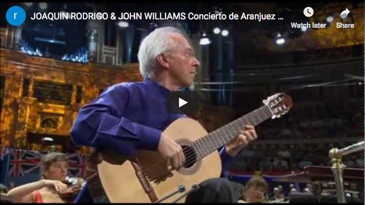 The guitarist John Williams is playing Rodrigo's Concierto de Aranjuez famous second movement, Adagio