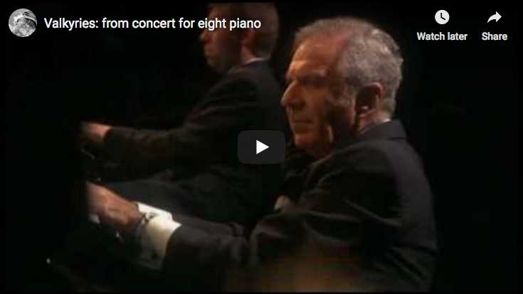 Leif Ove Andsnes, Emanuel Ax, Claude Frank, Evgeny Kissin, Lang Lang, James Levine, Mikhail Pletnev, and Staffan Scheja play Wagner's Ride of the Walkyries with 8 pianos
