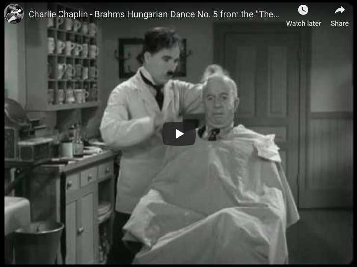 The Great Dictator, from Charlie Chaplin. Barber shop scene with Brahms Hungarian Dance No 5.