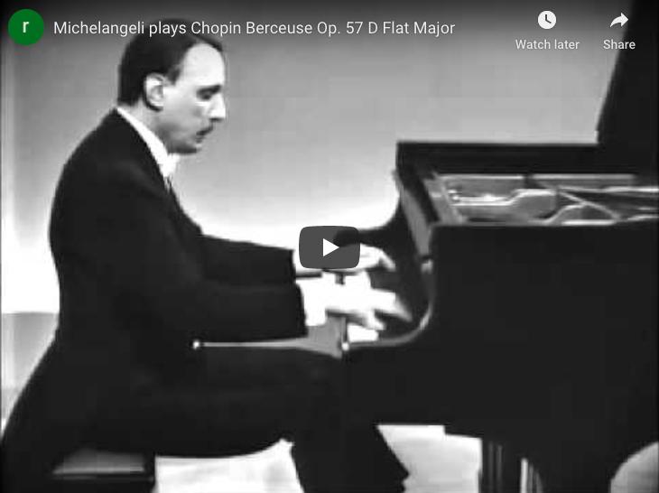 Chopin - Berceuse in D-Flat Major - Michelangeli, Piano