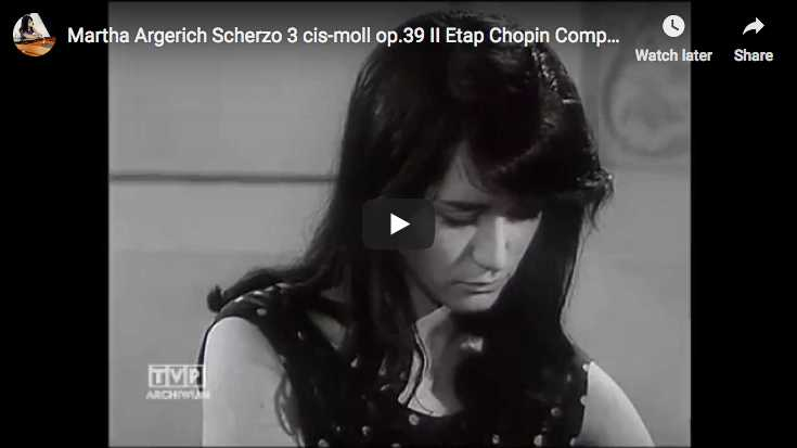 Martha Argerich plays Chopin's Scherzo No 3 in C-sharp minor at Chopin competition in Warsaw, 1965