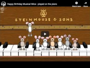 Height mice and one piano to sing and wish an Happy Birthday To You!