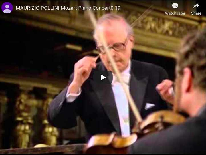 Maurizio Pollini plays Mozart's piano concerto in F Major. The orchestra is directed by Karl Böhm.