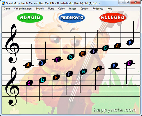 A true video game to learn to read music notes the fun way! Treble Clef and Bass Clef, Do Re Mi and A, B, C, tons of options.