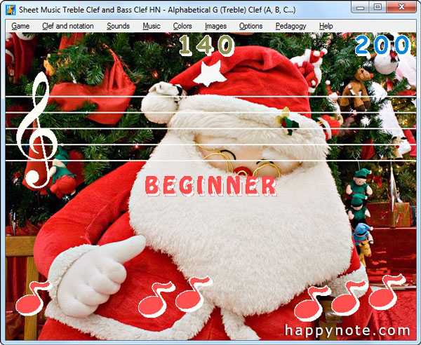 The Music game Sheet Music Treble Clef and Bass Clef HN has been customized with a free Christmas picture