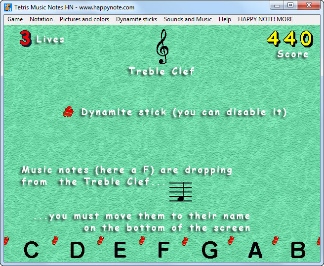 Learn to read treble clef the fun way with Tetris Music Notes HN. A B C and DO RE MI music notation, 3 speeds, Hi-Score... and more.