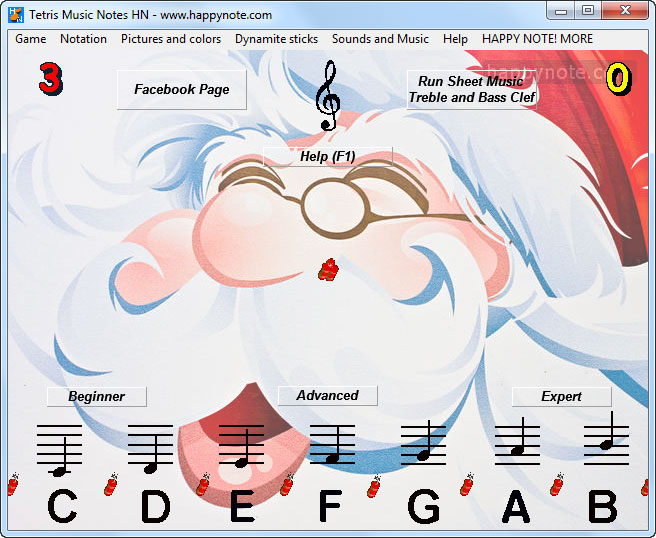 The game Tetris Music Notes has been customized with a picture of Santa Claus.