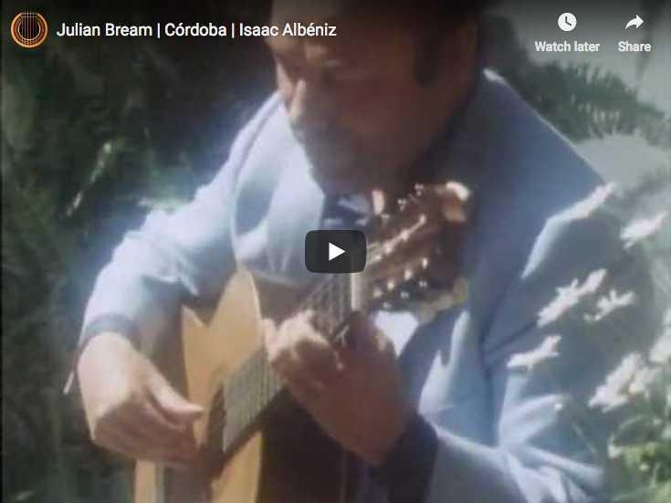 The guitarist Julian Bream performs Albeniz's piece Cordoba originally written for piano