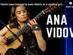 Ana Vidovic is playing on guitar Albeniz's Granada piece, originally composed for piano