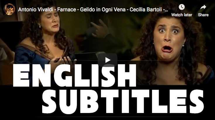 Cecilia Bartoli sings Gelido in Ogni Vena from Antonio Vivaldi's opera Farnace