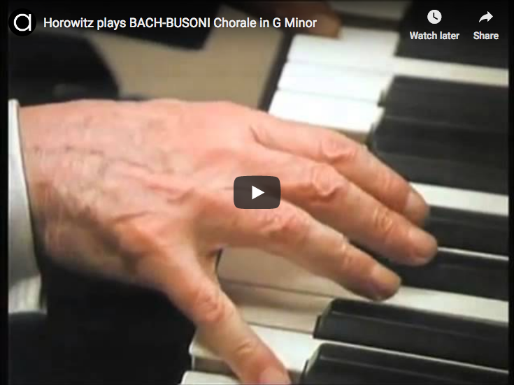 Bach-Busoni – Chorale Prelude in G Minor – Horowitz, Piano