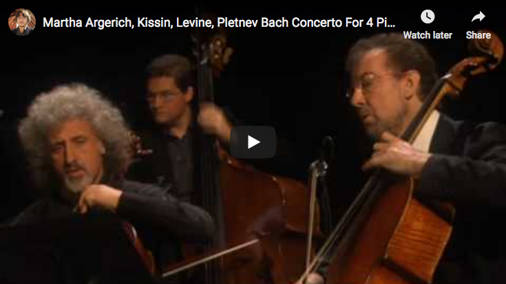 The pianist Argerich, Kissin, Pletnev, Levine, perform Bach's concerto for 4 harpsichords on modern pianos