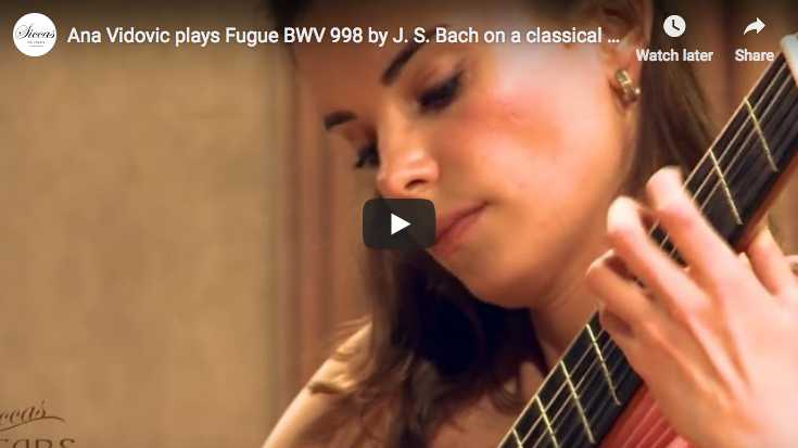 The guitarist Ana Vidovic performs Bach's Fugue in E-flat major BWV 998 on guitar