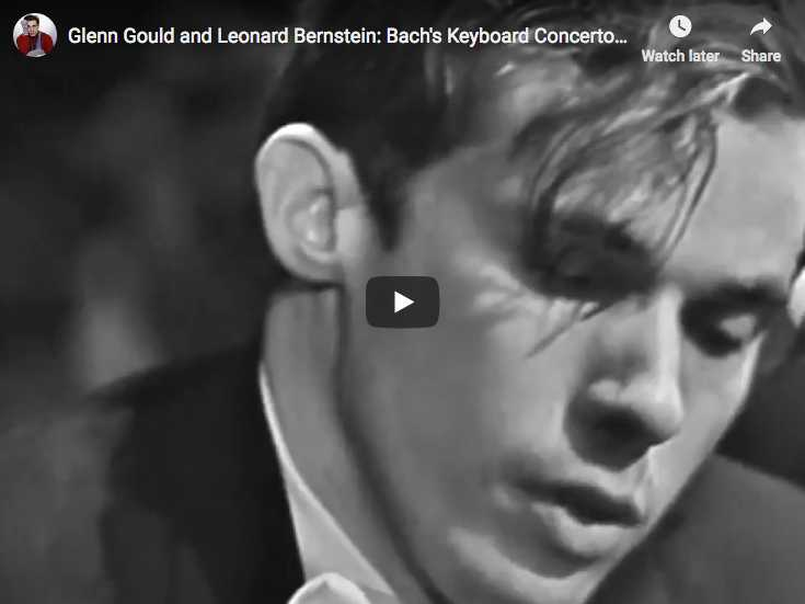 Glenn Gould, piano, and Leonard Bernstein, conductor, perform Bach harpsichord concerto No. 1 in D minor