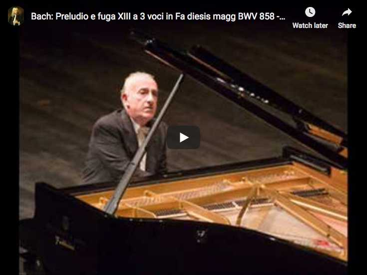 The Italian pianist Maurizio Pollini performs Bach's Prelude and Fugue No. XIII in F-sharp major from The Well-Tempered Clavier, Book I