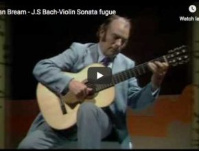 The guitarist Julian Bream performs the third movement (fuga) from Bach's Violin Sonata No 1 in G Minor