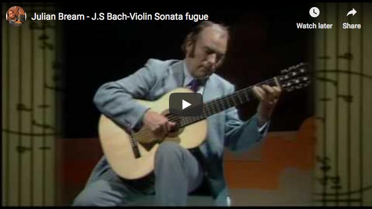 Bach - Sonata No. 1 in G minor, BWV 1001 (fuga) - Bream, Guitar