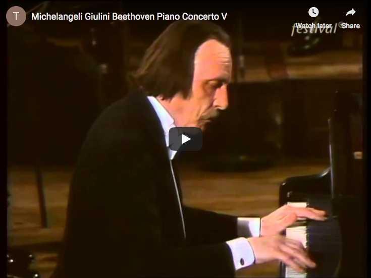 The Italian pianist Arturo Benedetti Michelangeli plays Beethoven's Concerto for piano No. 5