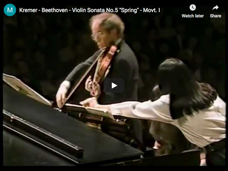 The violinist Gidon Kremer and the pianist Martha Argerich play the first movement of Beethoven's Violin Sonata No 5 in F major