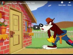 Pigs in a Polka is a 1943 cartoon using Brahms' Hungarian Dances No. 5, 6, 7, 17