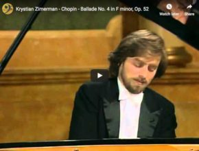 The pianist Krystian Zimerman is playing Chopin's Ballade No 4 in F minor