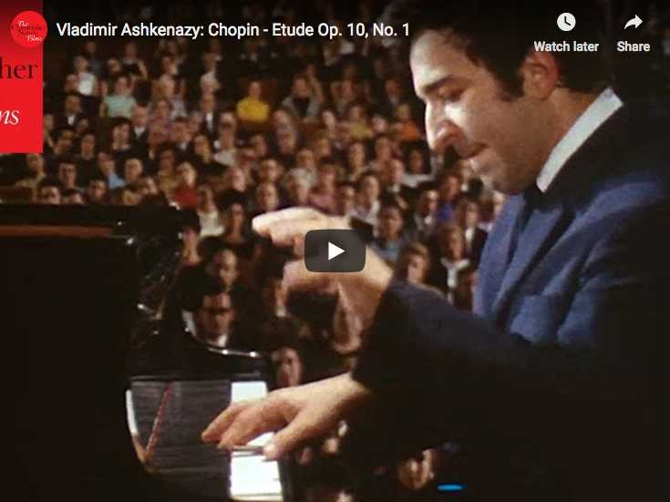 The Russian pianist Vladimir Askhenazy is playing Chopin's first Etude in C major