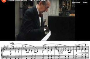 Chopin - Mazurka in A Minor, Op 17 No 4 - Horowitz, Piano