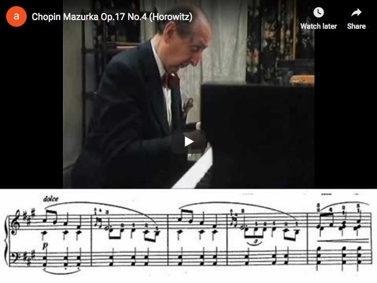 Vladimir Horowitz plays Chopin's Mazurka Op. 17 No. 4 in A minor