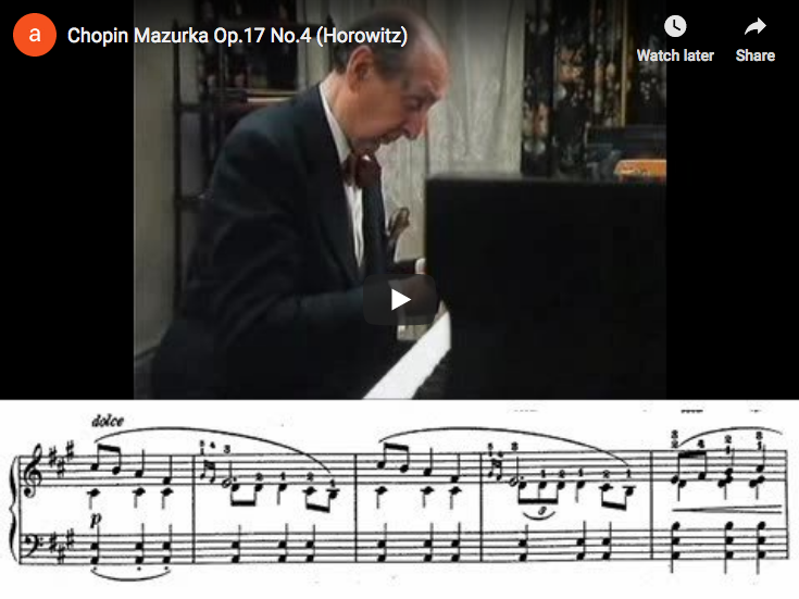 Chopin – Mazurka Op. 17 No 4 in A minor – Horowitz, Piano