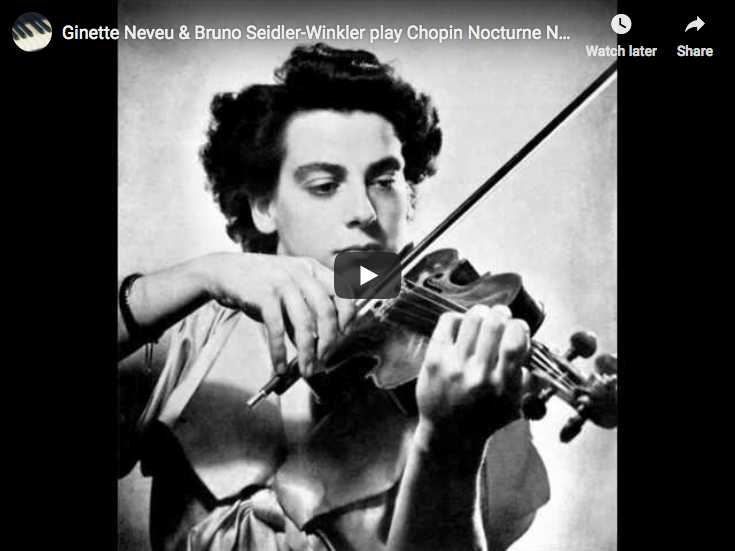 The French violonist Ginette Neveu performs Chopin's Nocturne No. 20 in C-sharp minor