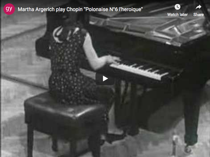 The pianist Martha Argerich is performing Chopin's Polonaise Heroic No. 6 in A-flat major