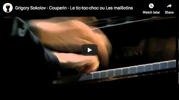 The Russian pianist Grigory Sokolov performs Couperin's Tic-toc-choc (or Les maillotins) from his third volume of harsichord music