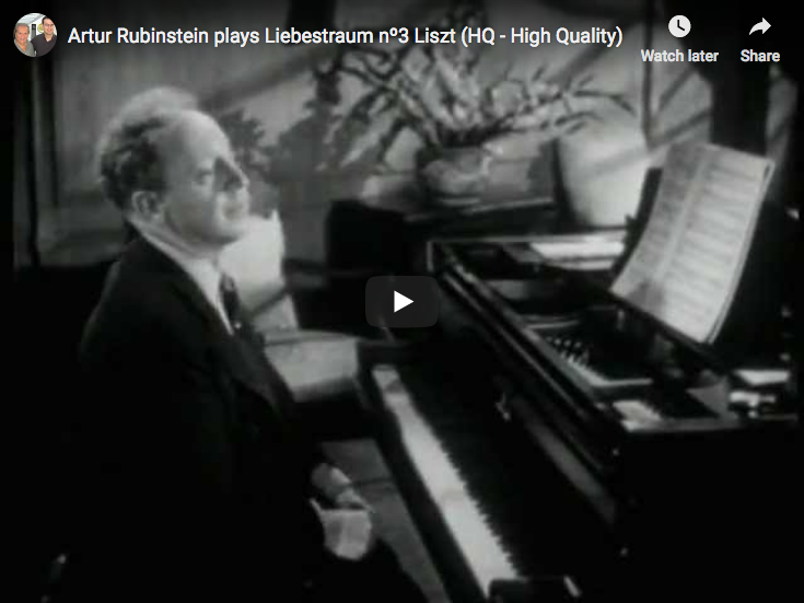 The pianist Arthur Rubinstein performs Liszt's Dreams of Love