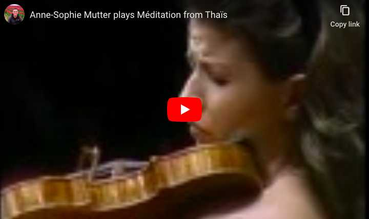 Anne-Sophie Mutter, 13 years old, plays Massenet's Thais meditation, the Berlin Philarmonic Orchestra is conducted by Herbert von Karajan