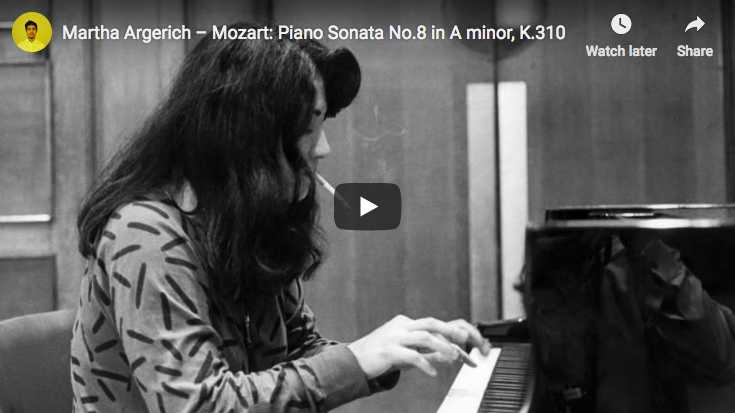 Martha Argerich plays Mozart's Sonata for piano No. 8 in A minor