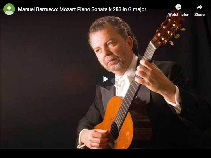 The guitarist Manuel Barrueco is playing Mozart's piano sonata No. 5 in G major on guitar