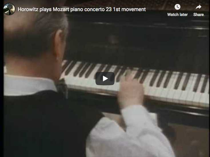Vladimir Horowitz plays the first movement of Mozart's piano concerto No. 23 in A major