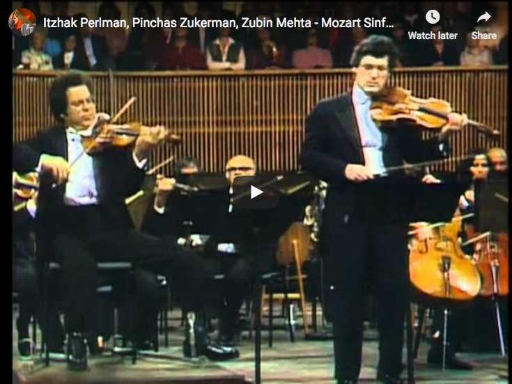 Itzhak Perlman, violin, and Pinchas Zukerman, viola, perform Mozart's Sinfonia Concertante