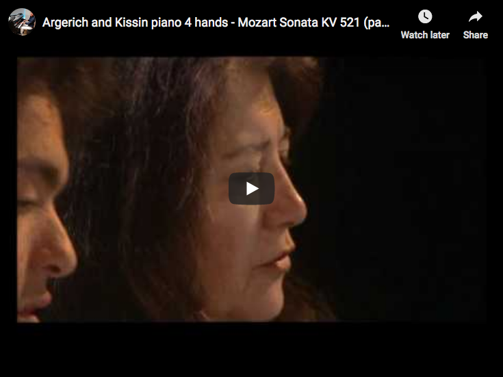 Mozart - Sonata for Piano Four Hands in C Major - Argerich; Kissin