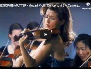 Anne-Sophie Mutter is playing Mozart's Violin Concerto No 5 in A major