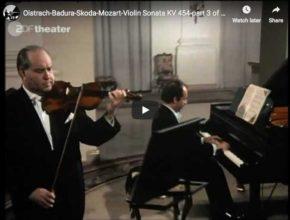David Oistrakh and Paul Badura-Skoda perform Mozart's sonata for violin and piano No. 32 in B major third movement