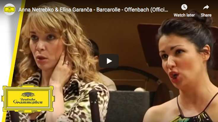 Anna Netrebko and Elina Garanča sing Offenbach's Barcarolle opening the third act of The Tales of Hoffmann