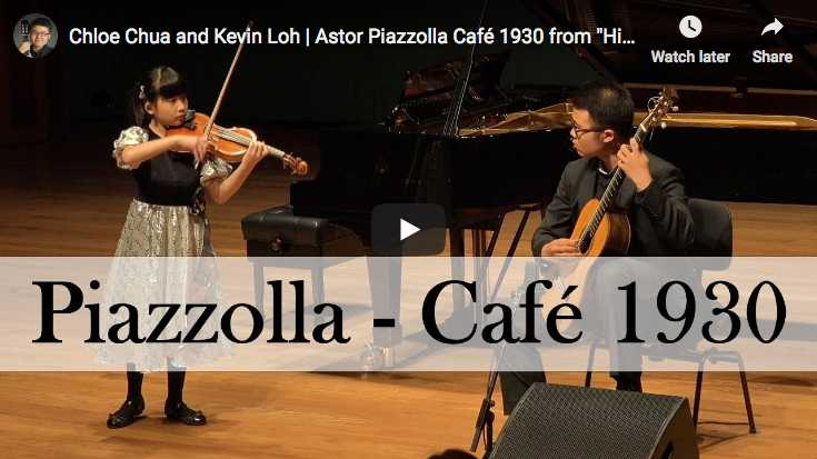 The violinist Chloe Chua and the guitarist Kevin Loh perform the second part, Cafe 1930, from Piazolla's Histoire du Tango