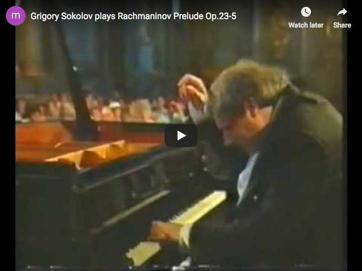 The Russian pianist Grigory Sokolov plays Rachmaninov's prelude Op. 23 No. 5 in G minor